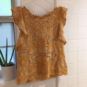 Beautiful yellow ruffle sleeve blouse